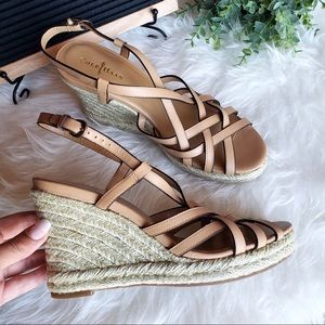 NEW Cole Haan tan Leather Wedge Espadrille Sandals